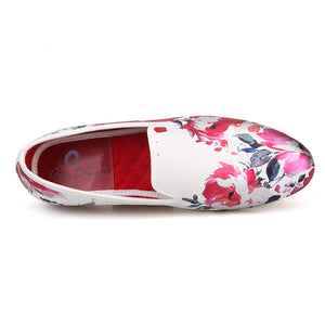 OneDrop Handmade White Color Print Gold Flower Men Wedding Party Prom Loafers