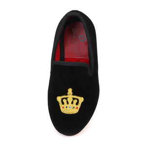 OneDrop Kid Velvet Gold Crown Embroidery Handmade Children Party Wedding And Prom Loafers