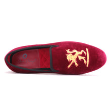 OneDrop Lion Embroidery Velvet Men Handmade Dress Shoes Party Wedding Banquet Prom Loafer