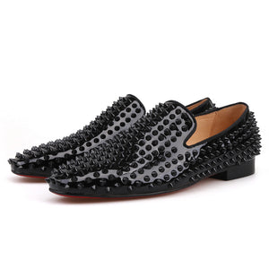 OneDrop Men Handmade Black Rivets Spikes Dress Shoes Party Wedding Prom Loafers