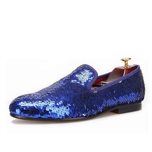 OneDrop Handmade Blue Beads Dress Shoes Men Party Wedding Prom Loafers