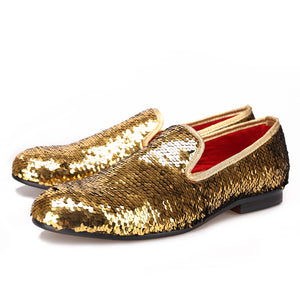 OneDrop Wedding Party And Prom Gold Colors Dress Shoes Men Luxurious Glitter Handmade Loafers