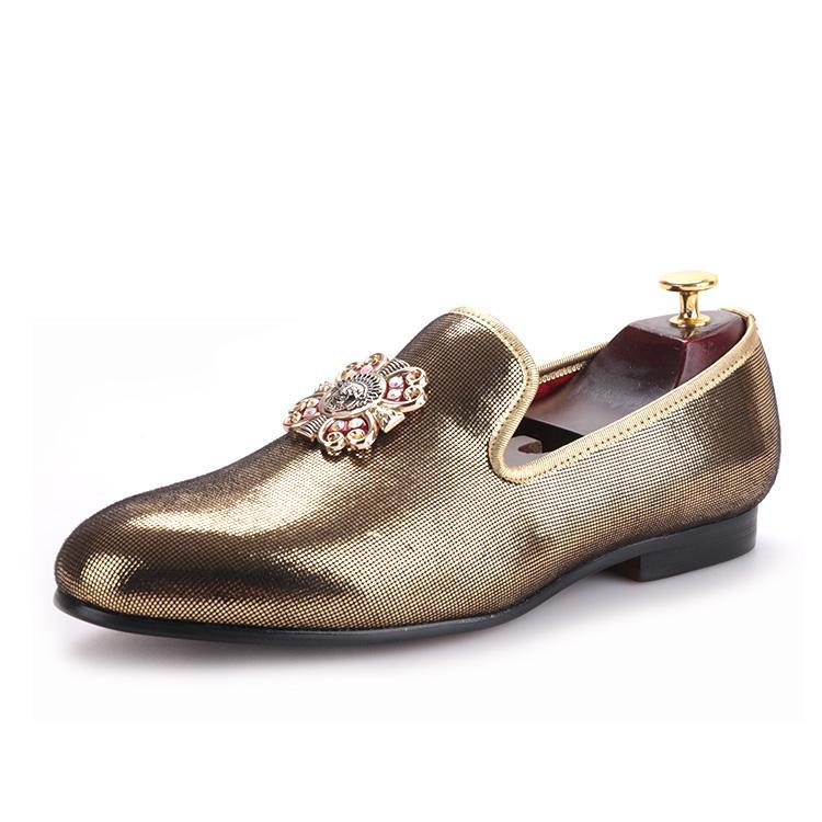 OneDrop Handmade Men Dress Shoes Gold PU Charm Party Prom Wedding Loafers