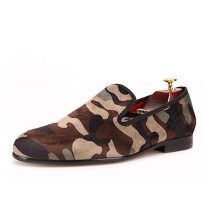 OneDrop Handmade Supreme Camouflage Men Velvet Dress Shoes Party Wedding Prom Loafers