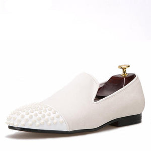OneDrop Handmade Men Dress Shoes Velvet Rivet Leather Toe Spikes Wedding Party Prom Loafers