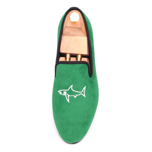 OneDrop Handmade Men Green Velvet Dress Shoes Shark Embroidery Party Wedding Prom Loafers