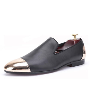 OneDrop Handmade Leather Men Dress Shoes Gold Metal Front Back Party Wedding Prom Loafers