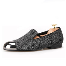 OneDrop Handmade Dot Pattern Leather Men Dress Shoes Gun Metal Toe Party Wedding Prom Loafers