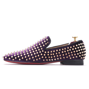 OneDrop Men Handmade Purple Velvet Dress Shoes Gold Rivets Party Wedding Prom Loafers