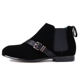 OneDrop Handsome Men Velvet Ankle Boots Metal Buckle Gold Bottom