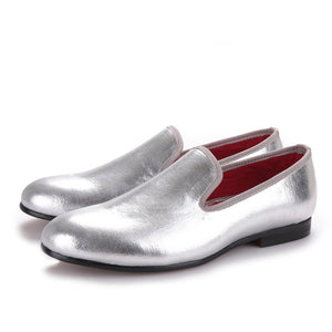 OneDrop Men Flats Handmade Shiny Gold And Silver Party Wedding Prom Loafers