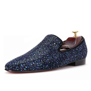OneDrop Handmade Men Leather Mixed Colors Rhinestones Wedding Party And Prom Loafers