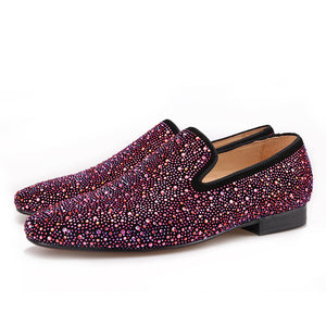 OneDrop Handmade Men Leather Mixed Colors Shining Rhinestone Party Wedding Prom Loafers