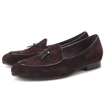 OneDrop Black And Brown Cow Suede Men Handmade Prom Party Wedding Loafers
