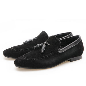 OneDrop Black And Brown Men Suede Shoes Leather Tassel Handmade Wedding Party Prom Loafers