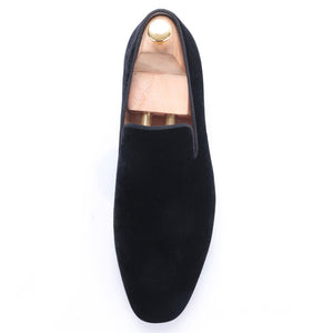 OneDrop Men Dress Shoes Black Velvet Handmade Flats Wedding Prom Party Loafers