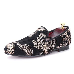 OneDrop Handmade Men Velvet Dress Shoes Golden Flower Prom Banquet Wedding Party Loafers