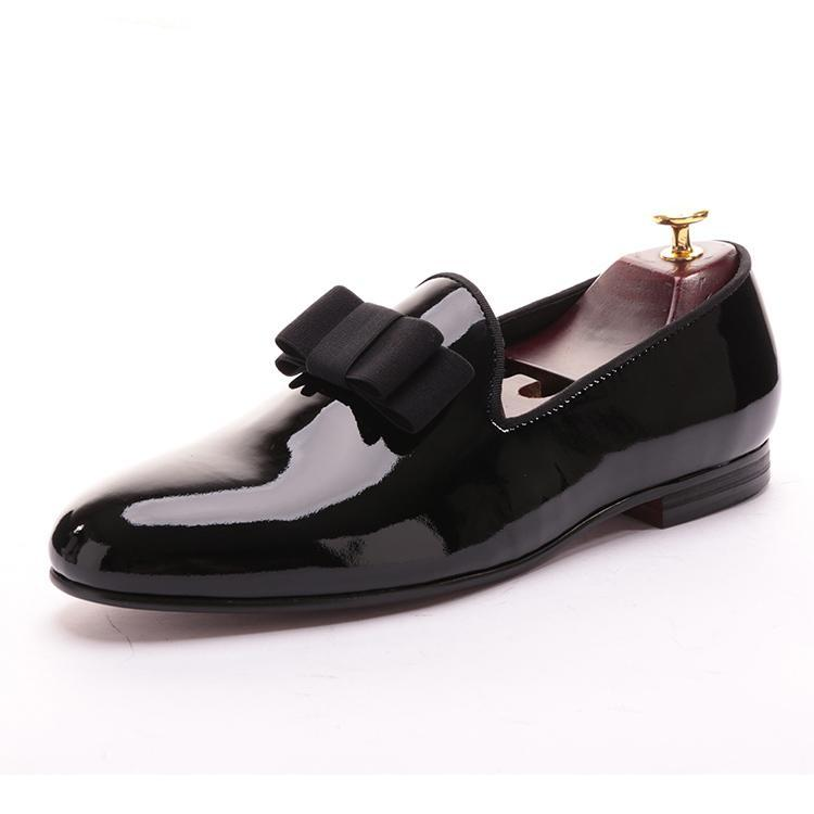 OneDrop Patent Leather Men Handmade Dress Shoes Bowtie Banquet Wedding Party Prom Loafers