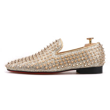 OneDrop Men Handmade Gold Spikes Dress Shoes Leather Party Wedding Prom Loafers