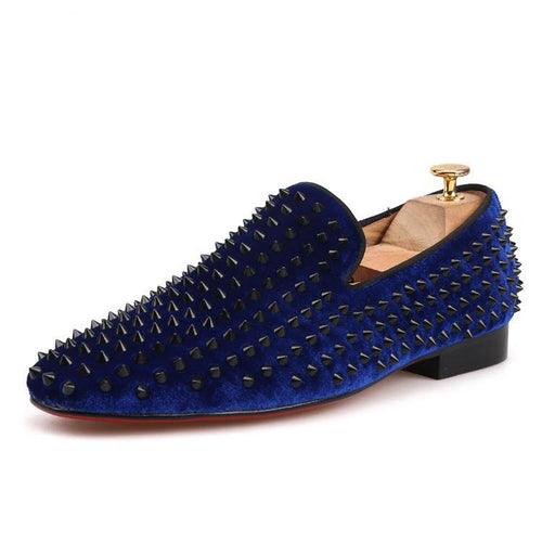 OneDrop Handmade Men Leather Velvet Spikes Dress Shoes Party Wedding And Prom Loafers