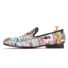 OneDrop Handmade Graffiti Cotton Fabric Men Red Cotton Insole Party Wedding Prom Loafers