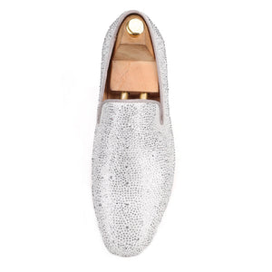 OneDrop Men Handmade Leather Dress Shoes Silver Rhinestone Party Wedding And Prom Loafers