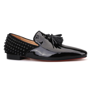 OneDrop Men Handmade Patent Leather Dress Shoes Red Bottom Spikes Wedding Party Prom Loafers