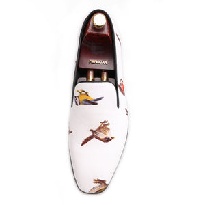 OneDrop Handmade Men Dress Shoes Bird Printing Party Wedding Banquet Prom Loafers