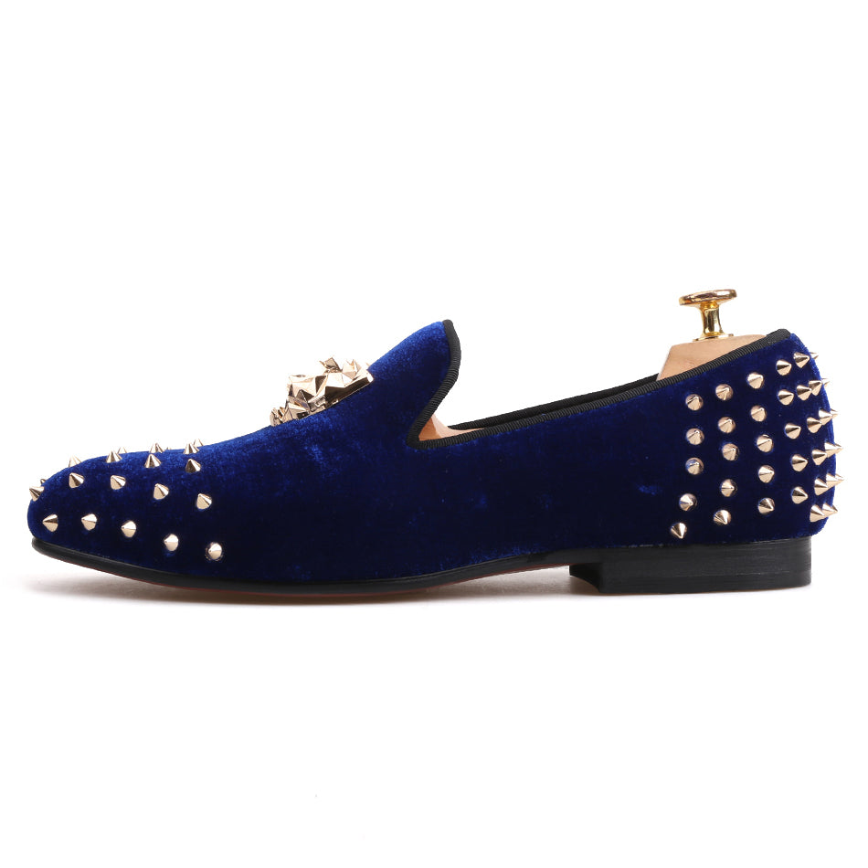 740d3f12e554 ... Piergitar Men Velvet Shoes With Gold Tiger Buckle And Spikes Party And  Wedding Loafers ...