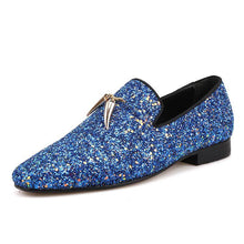 OneDrop Blue And Sky Blue Handmade Men Leather Prom Party And Wedding Dress Shoes Loafers Metal Tassels