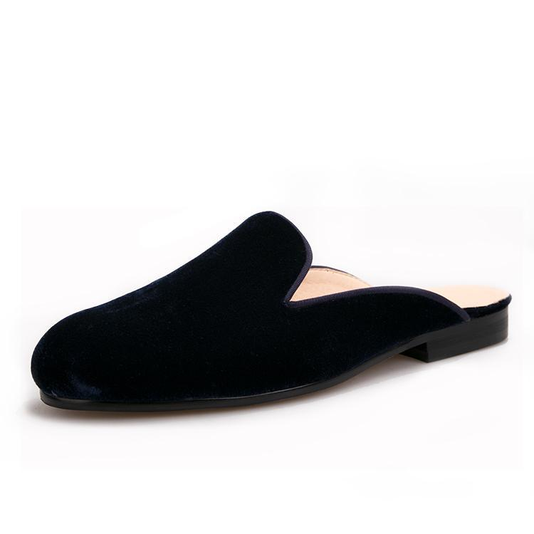 Piergitar Handmade Men Velvet With Leather Insole Indoor And Party Slippers