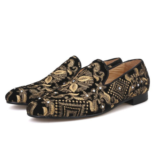 OneDrop Men Handmade Dress Shoes Gold Embroidery Party Wedding Prom Loafers
