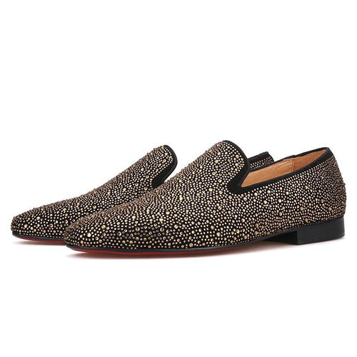 OneDrop Handmade Men Dress Shoes Leather Gold Rhinestone Party Banquet Wedding Prom Loafers