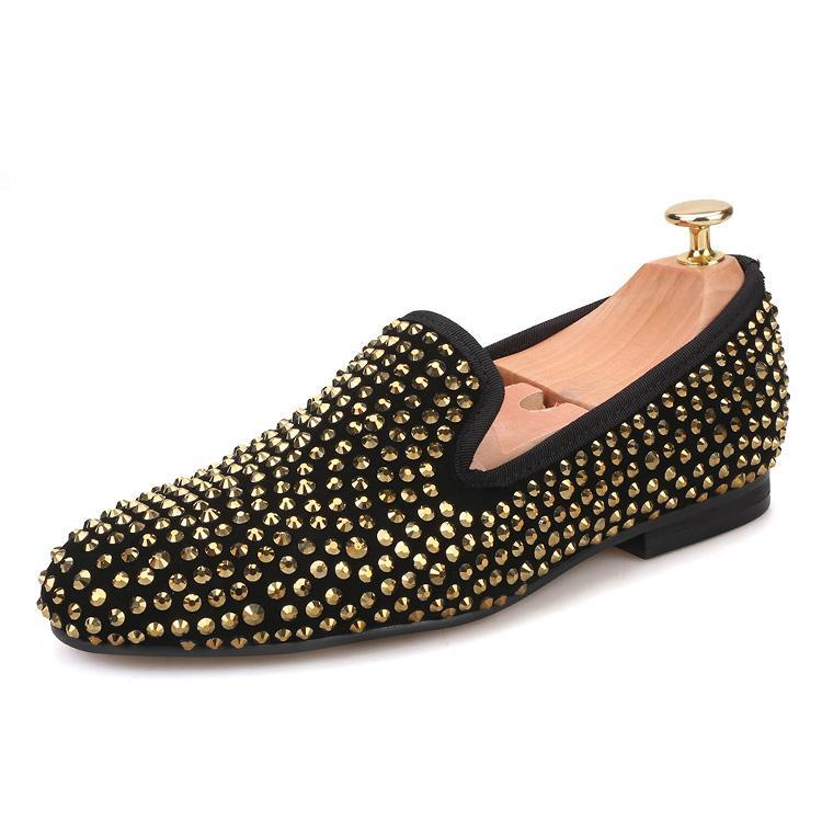 Women OneDrop Handmade Dress Shoes Gold Crystal Suede Party Wedding Prom Loafers