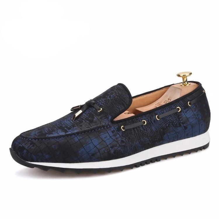 OneDrop Handmade Men Navy Blue Metal Tassel Sporty Sneakers