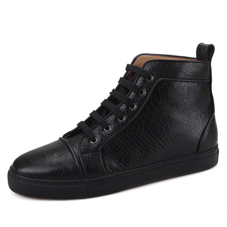 OneDrop Handmade Animal Embossing Leather Men Boots Sporty Sneakers Black Outsole