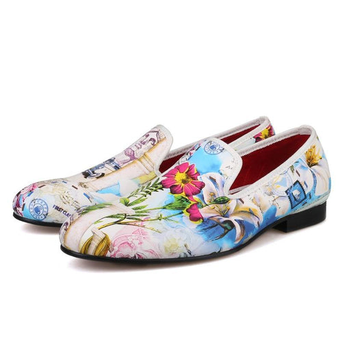Men OneDrop Handmade Dress Shoes Flowers Print Slipper Wedding Party Prom Loafers
