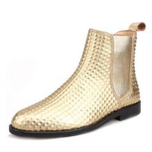OneDrop Men Handmade Gold Embossed Leather Chelsea Boots Party Ankle Boot