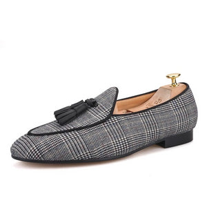 OneDrop Handmade Men Dress Shoes Gingham Cotton Wedding Party Prom Loafers Banquet Slippers