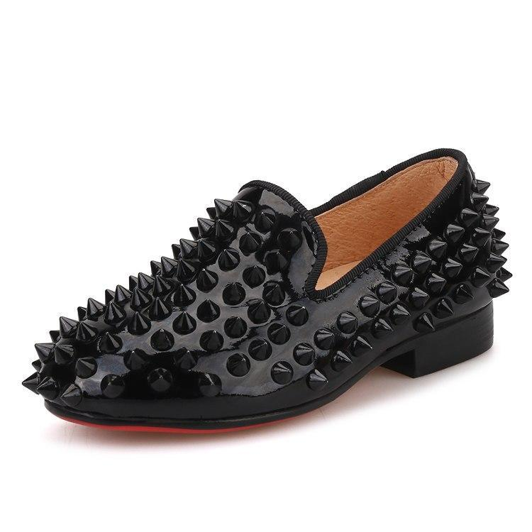 OneDrop Children Handmade Party Wedding And Prom Kid Spikes Loafers Red Bottom