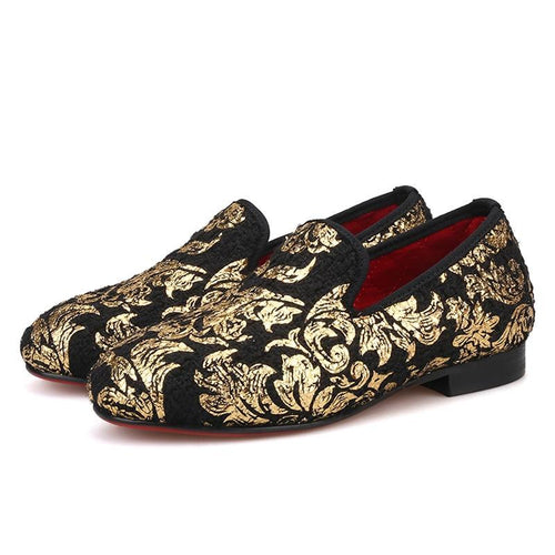 OneDrop Children Velvet Kid Handmade Gold Print Party Wedding Prom Loafers