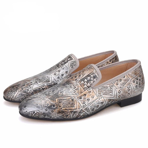 OneDrop Handmade Poker Prints Men Banquet Slippers Party Wedding Prom Loafers