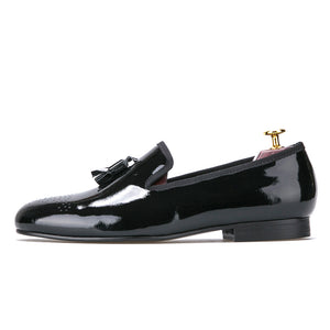 OneDrop Handmade Black Patent Leather Men Shoes With Tassel Party Wedding Prom Loafers