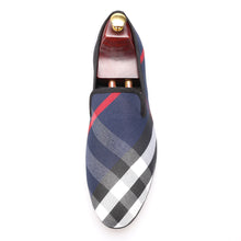 OneDrop Handmade Dress Shoes Blue White Plaid Canvas Men Leather Insole Wedding Party Prom Loafers