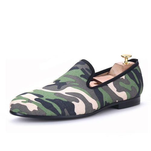 OneDrop Men Handmade Military Motif Camo Print Dress Shoes Leather Party Wedding Prom Loafers
