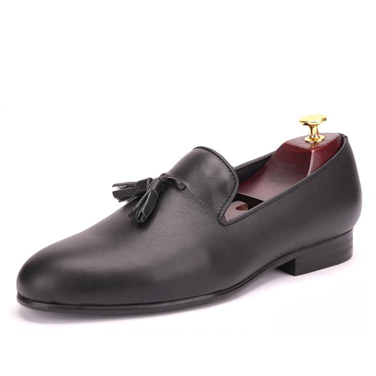 OneDrop Handmade Men Black Leather Tassel Dress Shoes Party Wedding Banquet Prom Loafers