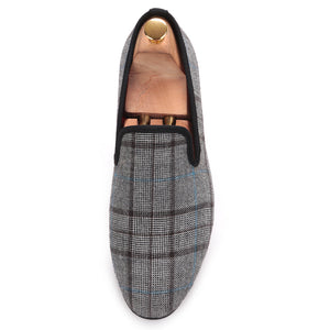 OneDrop Gingham Gray Handmade Men Flats Slip On Party Wedding Prom Loafers