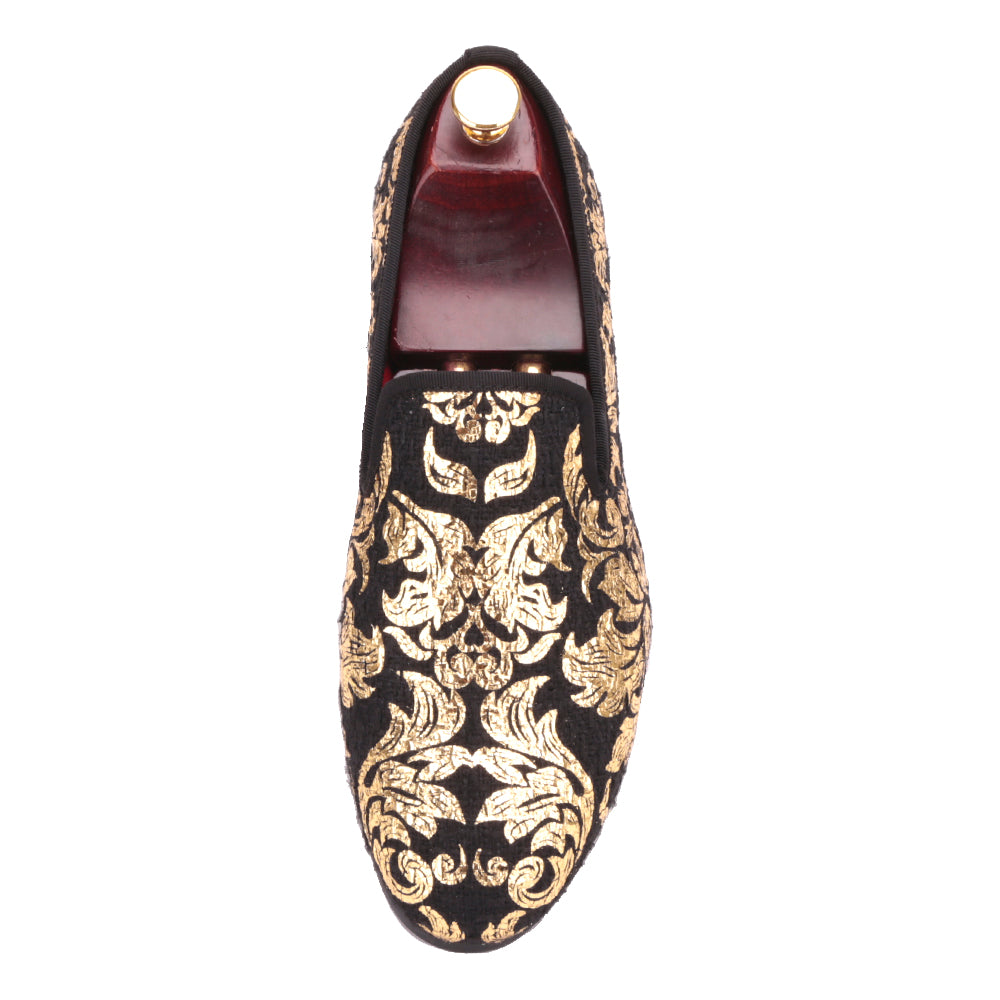 Handmade Gold Printing Mens Loafers Luxury Party Flats Wedding Dress Shoes
