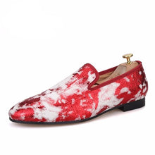 OneDrop Handmade Jacquard Fabric Men Leather Insole Party Wedding Prom Loafers