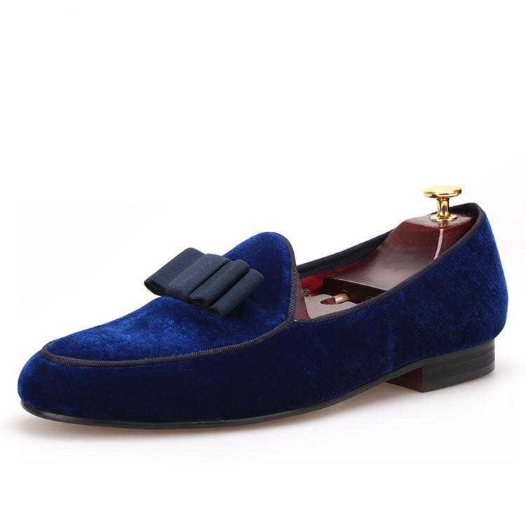 OneDrop Royal Velvet Handmade Men Dress Shoes Bowtie Prom Wedding Party Loafers
